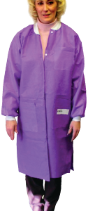 Disposable Lab Jacket, Knee Lenght, Large, Ciel Blue