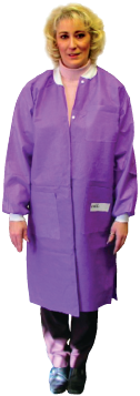Disposable Lab Jacket, Knee Lenght, X-Large, Ciel Blue
