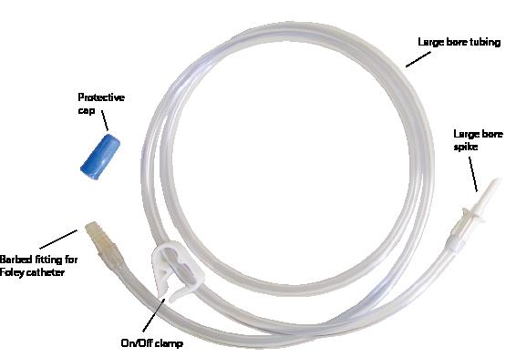 Equine uterine lavage adminstration kits sinle line w