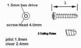 2.4mm Coritcal Screw, Self-Tapping, Titanium 26mm