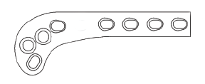 Supra Condylar Osteotomy Plate, 2.4mm Right