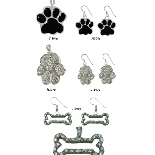 Dog Paw, Silver and Black Enamel, Earrings Only