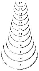 Suture Needle, Taper, 1/2 Circle,  18